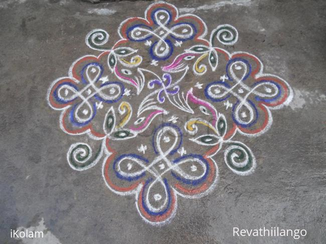 Rangoli: Rev's chikku with designs.