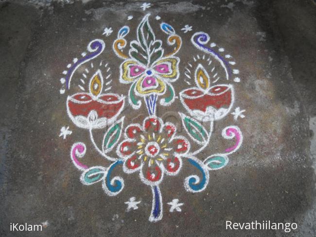 Rangoli: Rev's deepam & flowers kolam.