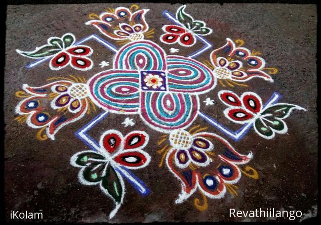 Rangoli: Rev's new try swastik kolam for friday.