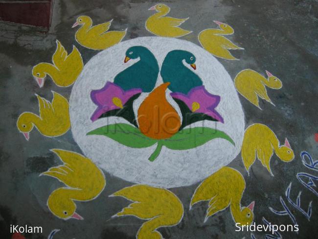 Rangoli: Flock of birds rangolii