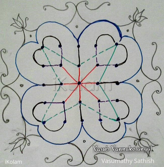 Rangoli: Dotted version for my freehand rangoli 5-5 straight dots