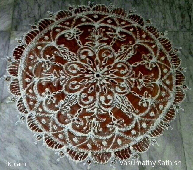 Rangoli: Inspirational Rangoli made for Margazhi with rice flour and kavi
