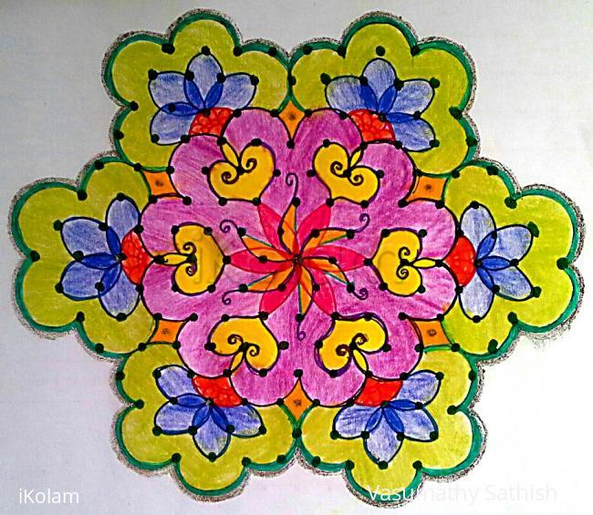 Rangoli: Dotted Rangoli with 15-8 interlaced dots