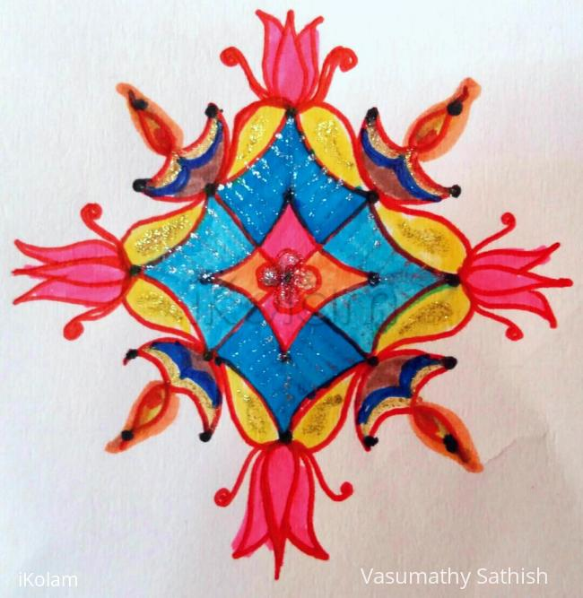 Rangoli: Beginner's Dotted Rangoli  with 5-5 interlaced dots