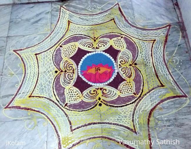 Rangoli: Vaikunta Ekadasi /Margazhi Kolam Day 5 - Padi Kolam with Rice batter n colours