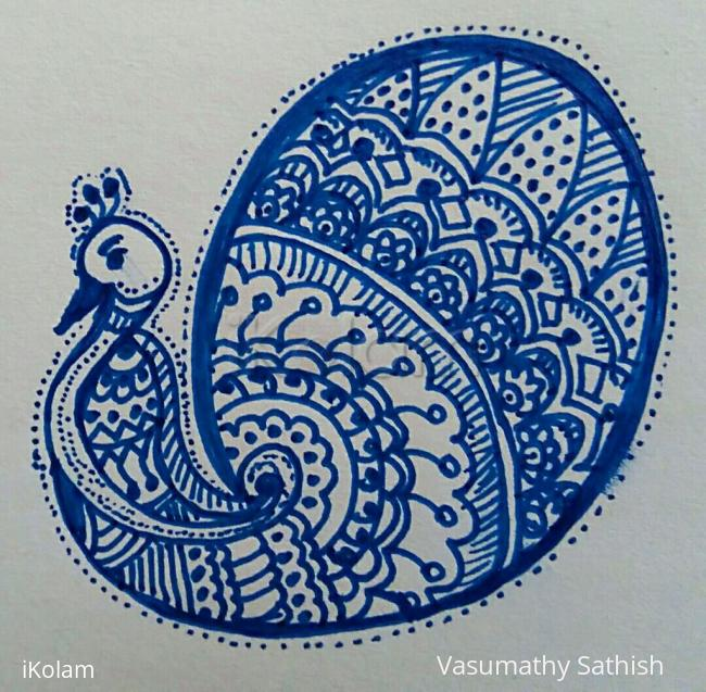 Rangoli: Freehand Peacock design