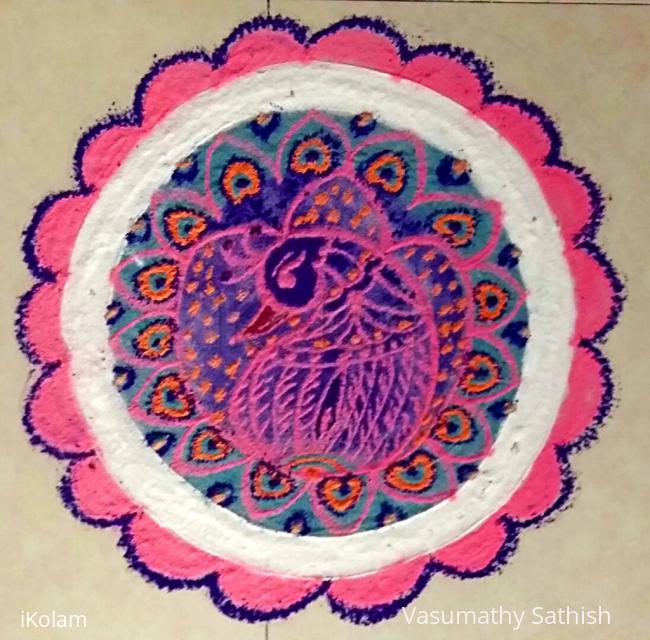 Rangoli: Freehand Peacock Rangoli with colours