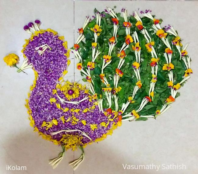 Rangoli: Pookolam 012 - Peacock with fresh flowers.