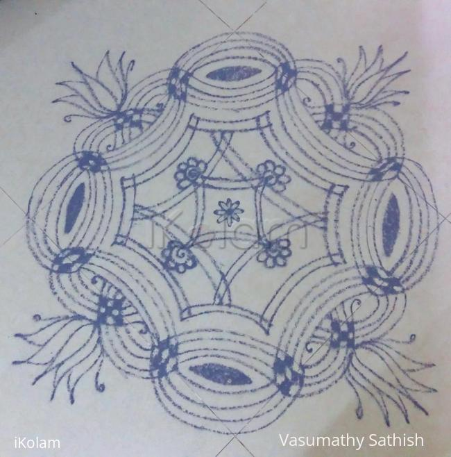 Rangoli: Navarathiri Day 1 Iyengar Padi Kolam in grey colour