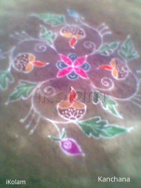 Rangoli: rangoli with lamp & leaves