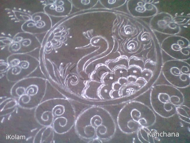 Rangoli: aadi velli 3 peacock rangoli