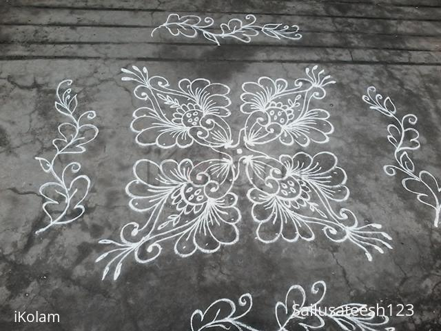 Rangoli: Daily ....Dotted kolam, different flowers