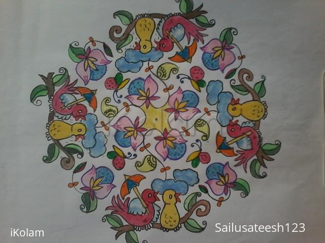 Rangoli: Birds kolam with 21 to 7 dots