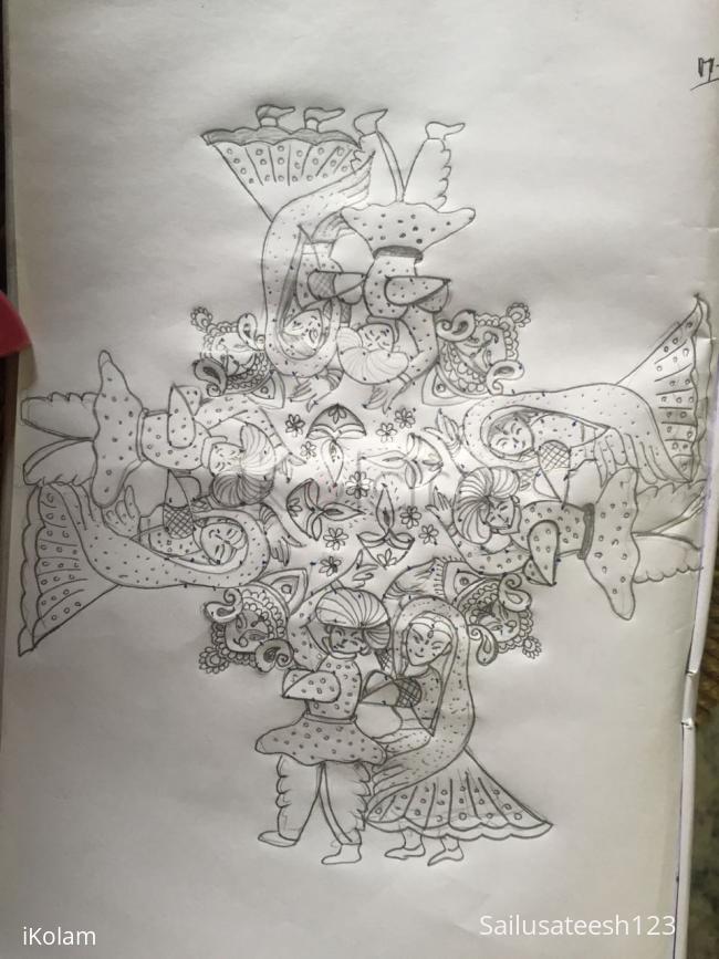 Rangoli: Navratri special...with 17to 7straight dots....