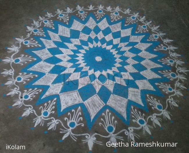 Rangoli: Navarathri Special! Day-9 Sky blue!!