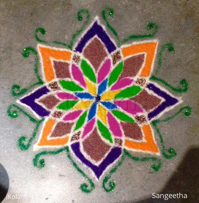 Rangoli: Freehand Rangoli Experiment with Glitter